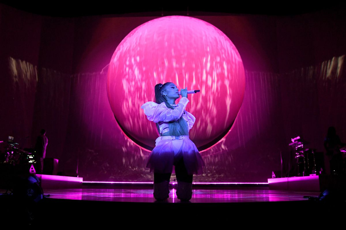 """Ariana Grande performs on stage during her """"Sweetener World Tour"""" at The O2 Arena on August 19, 2019 in London, England."""
