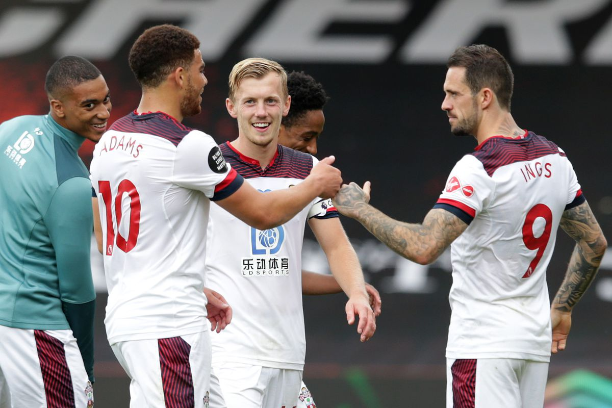 Southampton captain James Ward-Prowse with Danny Ings and Che Adams