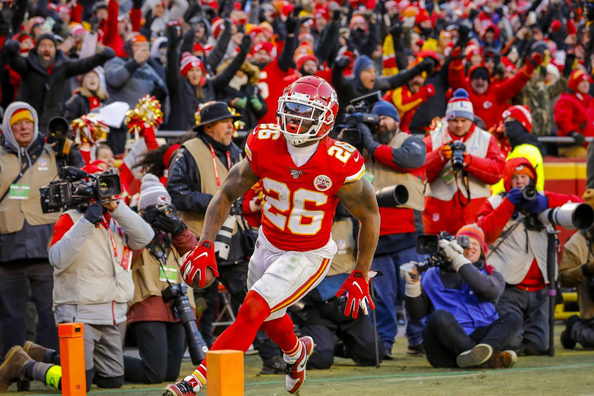 Damien Williams of the Kansas City Chiefs scores on a fourth quarter run in the AFC Championship game at Arrowhead Stadium on January 19, 2020 in Kansas City, Missouri.