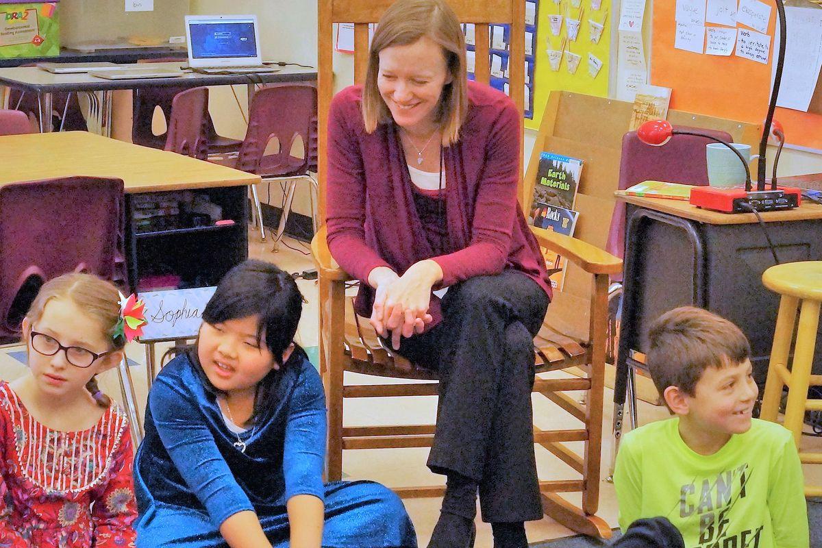 Teacher Karen Wagner with her third-graders at Denver's Polaris at Ebert Elementary School.