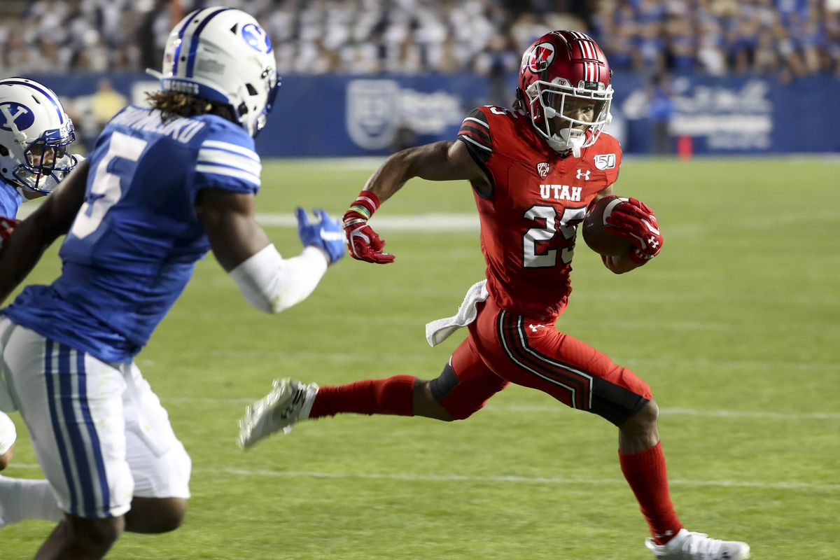 Utah Utes wide receiver Jaylen Dixon sprints to the end zone during game at BYU at LaVell Edwards Stadium.