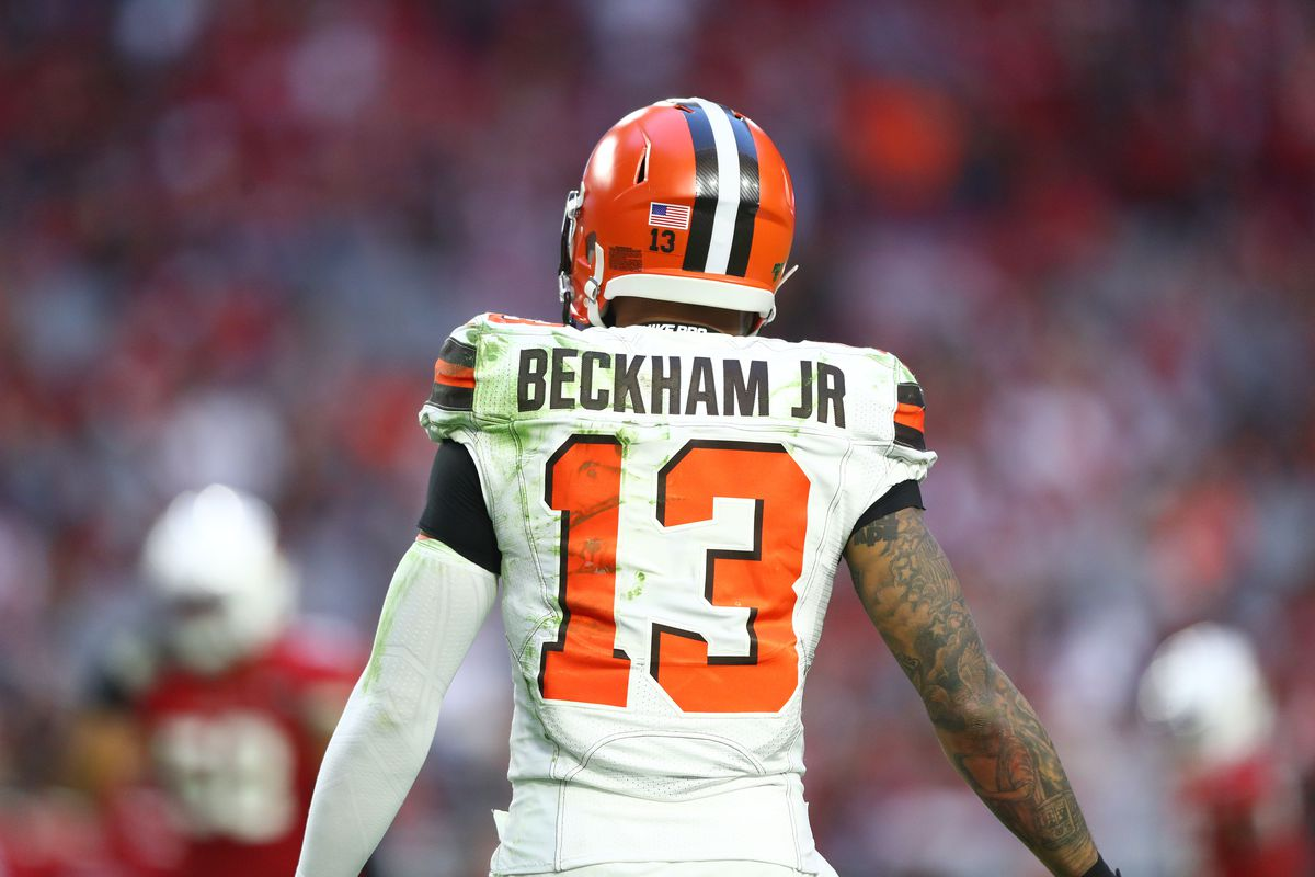 Detailed view of the jersey of Cleveland Browns wide receiver Odell Beckham Jr. against the Arizona Cardinals at State Farm Stadium.