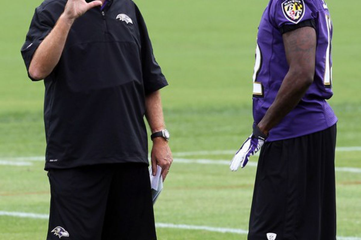 May 23, 2012; Baltimore, MD, USA; Baltimore Ravens offensive coordinator Cam Cameron talks with wide receiver Jacoby Jones (12) during the Baltimore Ravens OTA at the team practice facility. Mandatory Credit: Mitch Stringer-US PRESSWIRE