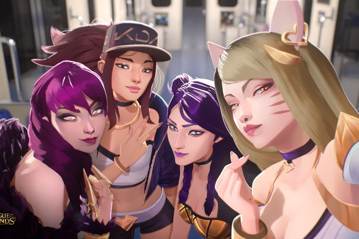 the four women of K/DA, the fictional K-pop group in League of Legends