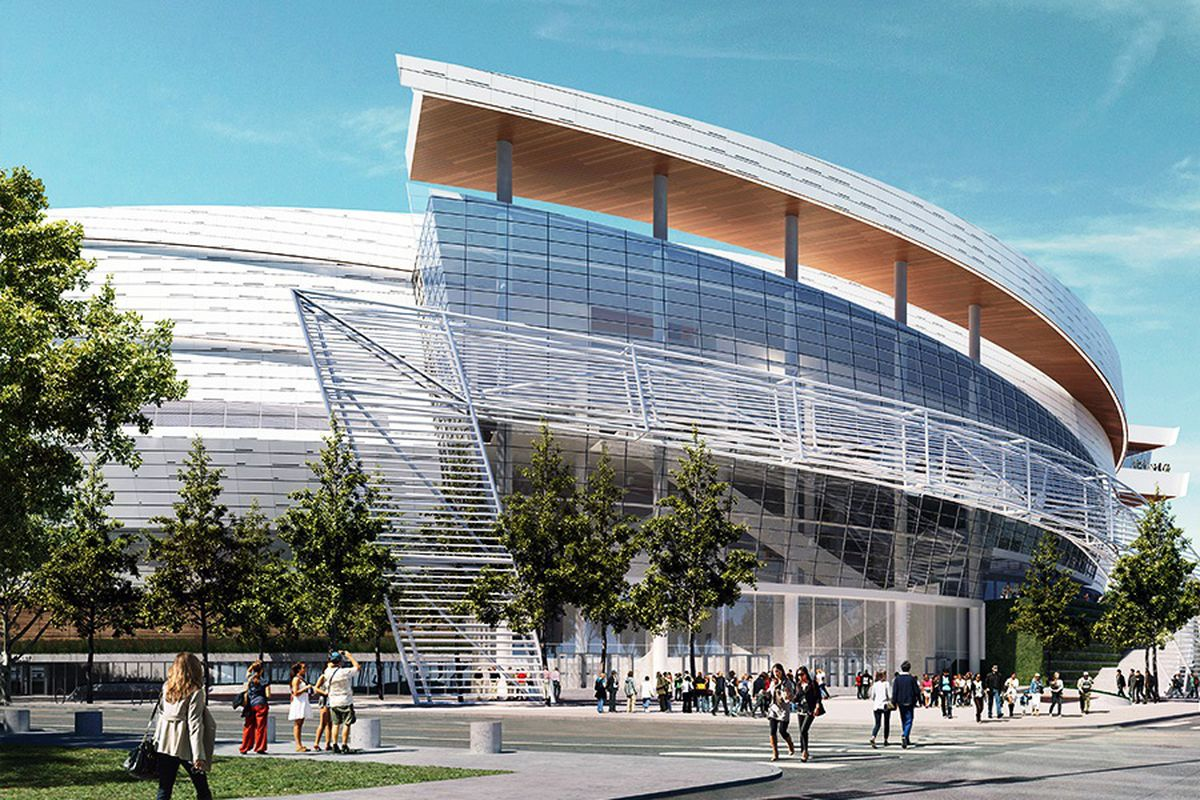 An artist's rendering of the new Warriors' arena in Mission Bay