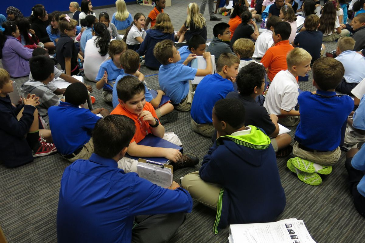 Valor fifth-graders discuss how they are going to make their school the best in Nashville during an all-school morning meeting, which is held daily.