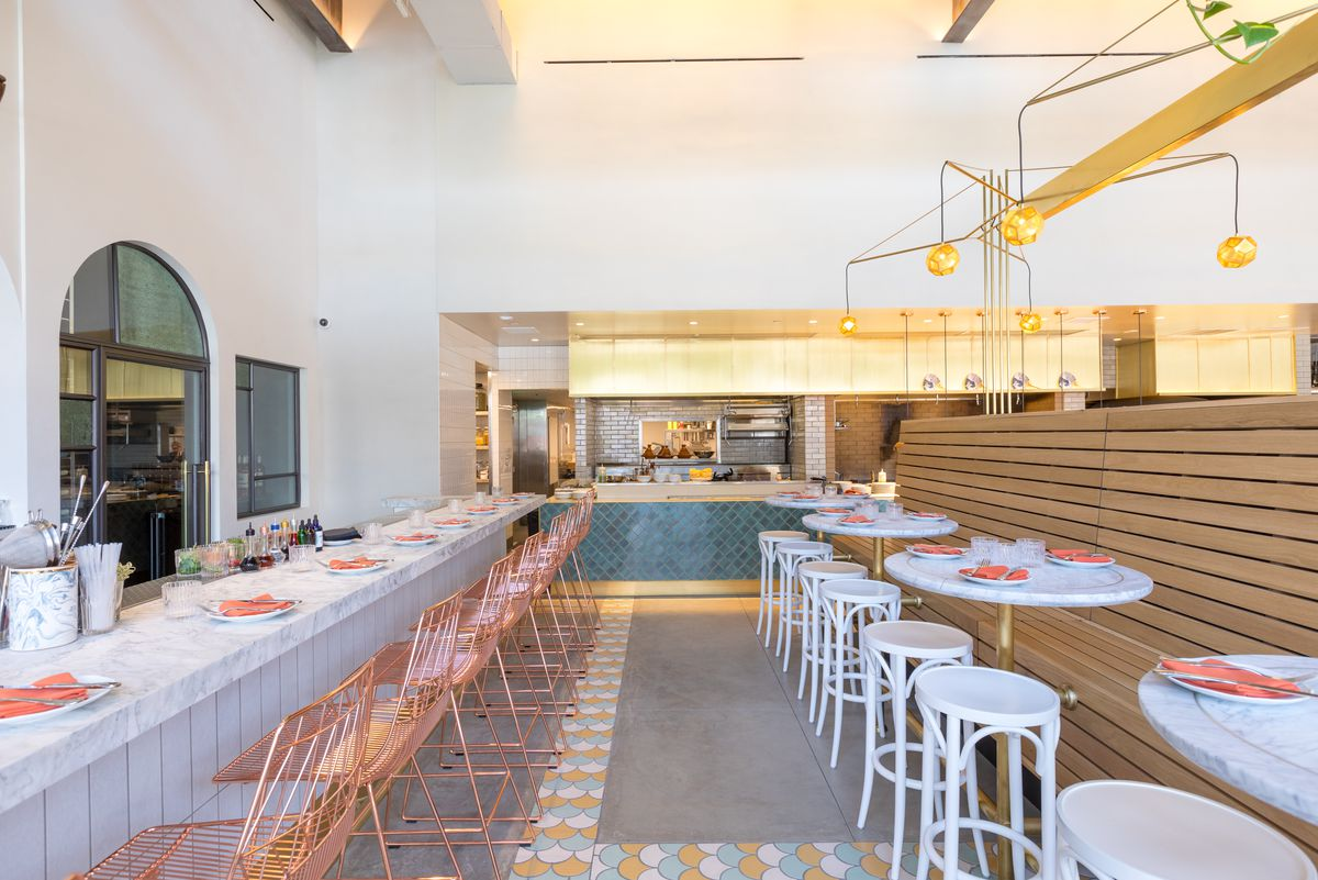 Restaurant Trend Bavel Embraces Plants White Marble And Brass In La Eater