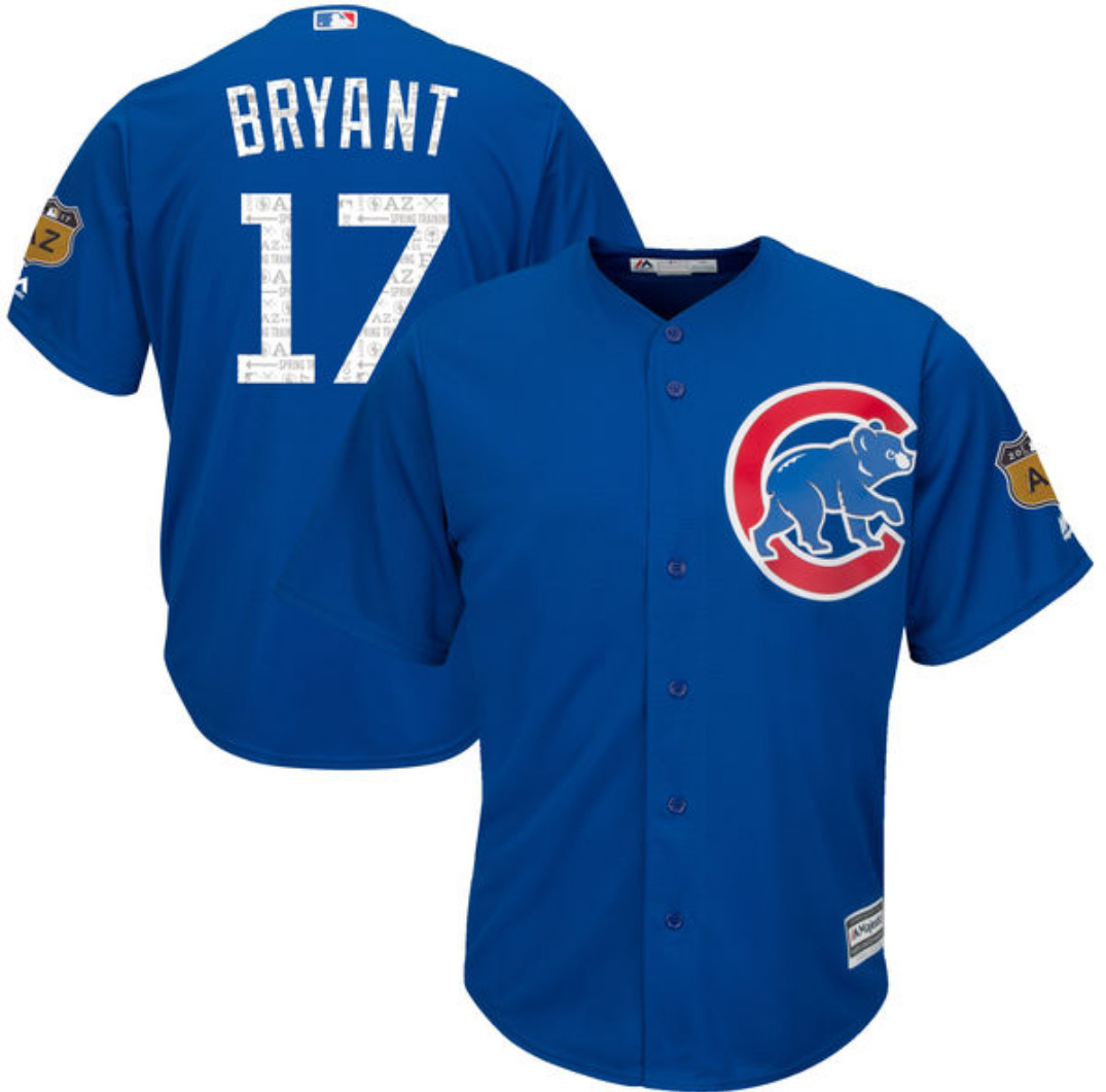 "f01fff149 This is very similar to the Cubs  blue alternate jersey that they sometimes  wear for road games during the regular season. It also has the ""2017 AZ""  patch ..."