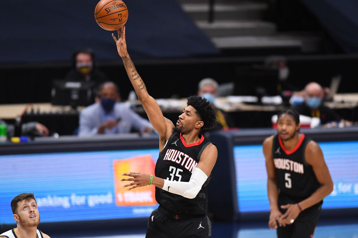 Houston Rockets forward Christian Wood (35) shoots the ball in the fourth quarter against the Denver Nuggets at Ball Arena.