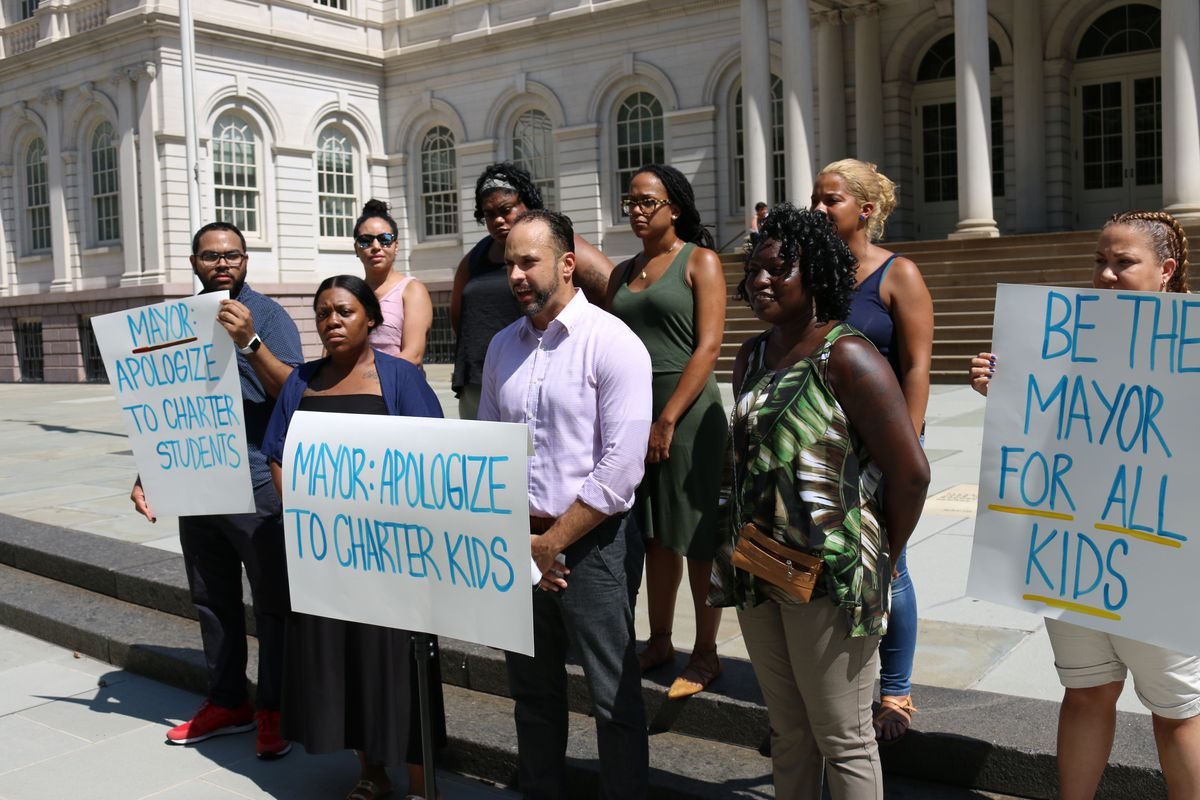 Charter school parents demand an apology from Mayor Bill de Blasio for his comments about their schools.