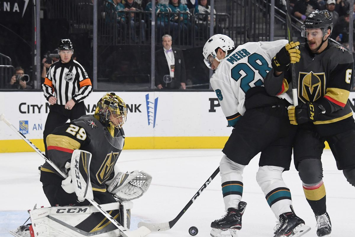 LAS VEGAS, NEVADA - NOVEMBER 24: Marc-Andre Fleury #29 of the Vegas Golden Knights blocks a shot by Timo Meier #28 of the San Jose Sharks as Colin Miller #6 of the Golden Knights defends in the first period of their game at T-Mobile Arena on November 24,
