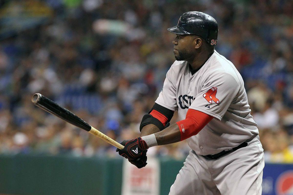 May 16, 2012; St. Petersburg, FL, USA; Boston Red Sox designated hitter David Ortiz (34) at bat against the Tampa Bay Rays at Tropicana Field. Mandatory Credit: Kim Klement-US PRESSWIRE