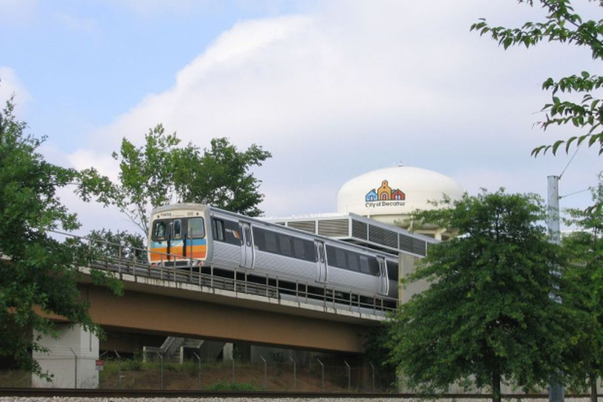A MARTA train leaving the East Lake station near Decatur.