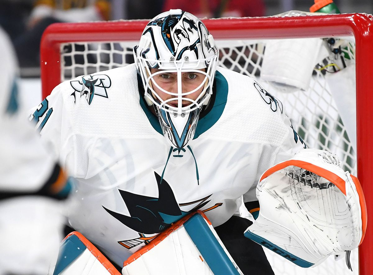 Apr 21, 2019; Las Vegas, NV, USA; San Jose Sharks goaltender Martin Jones (31) follows the play during the second period against the Vegas Golden Knights in game six of the first round of the 2019 Stanley Cup Playoffs at T-Mobile Arena. Mandatory Credit: