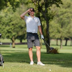 Mount Carmel's Christopher Whelton looks down the fairway during practice at Jackson Park Golf Course.