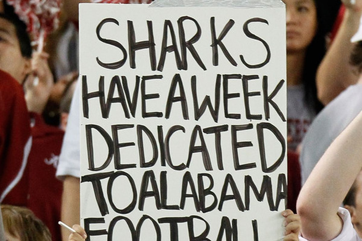 TUSCALOOSA AL - OCTOBER 02:  A fan of the Alabama Crimson Tide holds up a sign about Alabama football during the game against the Florida Gators at Bryant-Denny Stadium on October 2 2010 in Tuscaloosa Alabama.  (Photo by Kevin C. Cox/Getty Images)