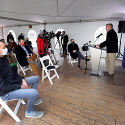 Scott White, HollyFrontier vice presidentand refinery manager,speaks at the refinery in Woods Cross on Friday, Dec. 11, 2020, during a ribbon-cutting ceremony commemorating Tier 3 fuel being shipped from HollyFrontier Woods Cross for customers along the Wasatch Front