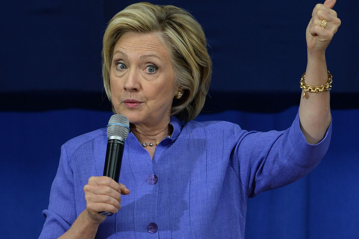 Democratic presidential candidate Hillary Clinton speaks at a town hall meeting at Exeter High School August 10, 2015, in Exeter, New Hampshire.