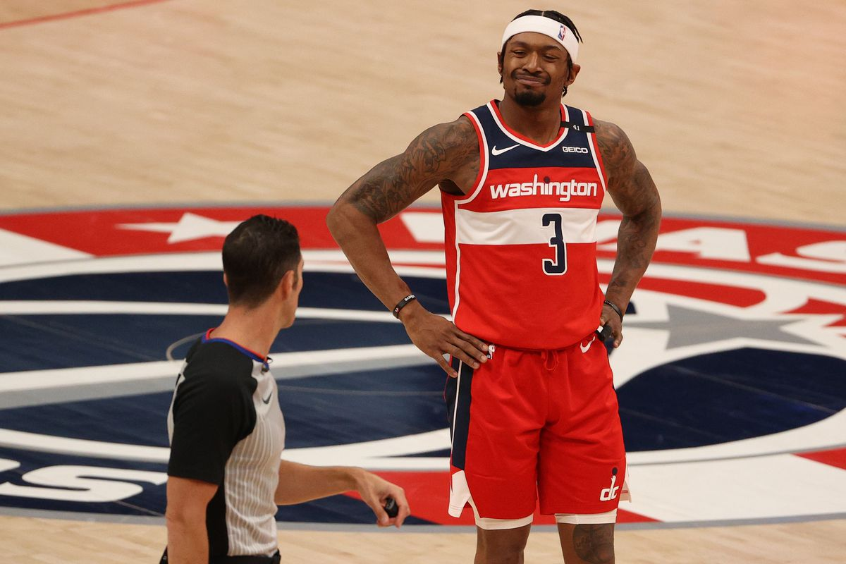 Bradley Beal of the Washington Wizards reacts against the Los Angeles Clippers during the first half at Capital One Arena on March 04, 2021 in Washington, DC.