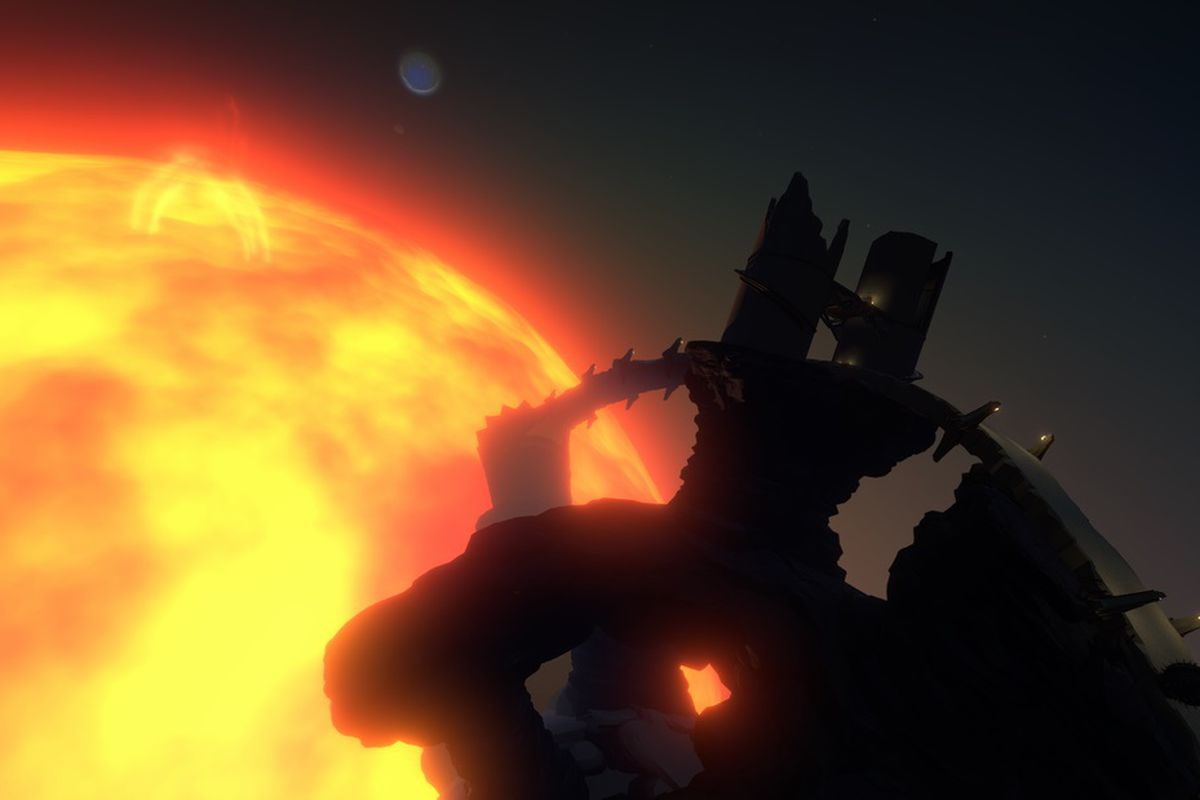 the planet Ash Twin with the sun behind it in Outer Wilds
