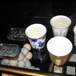 Bernard Maisner custom calligraphy, $10-$95<br />Bernardaud candles, $120-$165