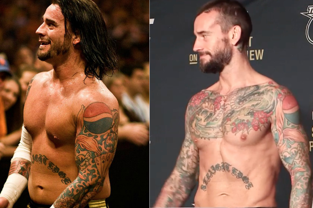 Left: CM Punk during his WWE heyday in 2008. Right: The former pro wrestler weighs in for UFC 203 at 170 pounds.