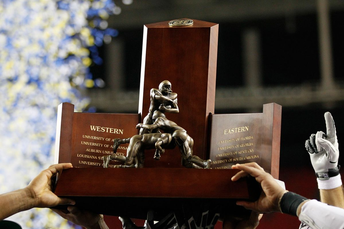 The placeholder national title trophy given to LSU while the NCAA completes the Tigers' crystal football.  (Photo by Kevin C. Cox/Getty Images)