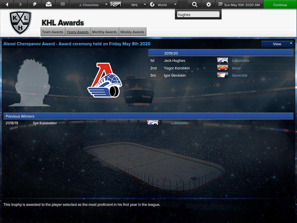 Hughes won an award in the KHL for his season.