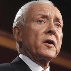 FILE - In this Feb. 2, 2011 file photo, Sen. Orrin Hatch, R-Utah, speaks on Capitol Hill in Washington. In a rebuke to the Obama administration, government auditors are calling for the cancellation of an $8 billion Medicare program that congressional Republicans have criticized as a political ploy.