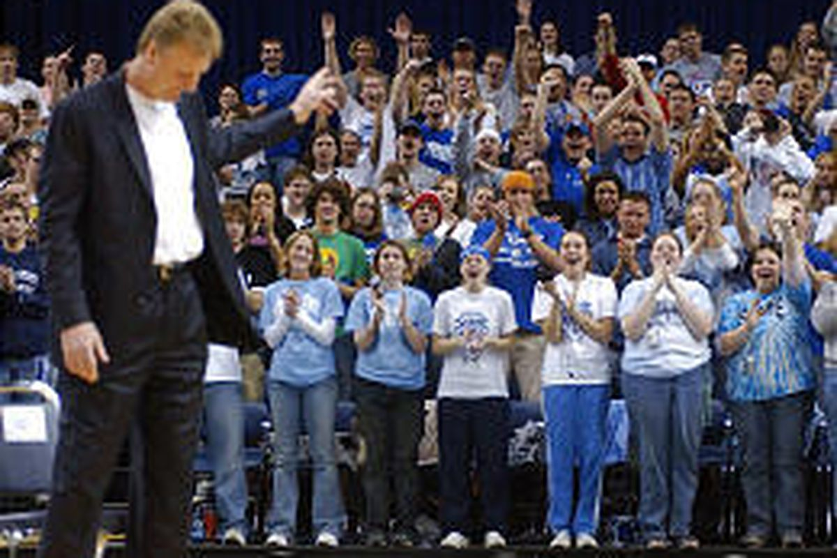 Former Indiana State star Larry Bird acknowledges the student section at ceremony in his honor.