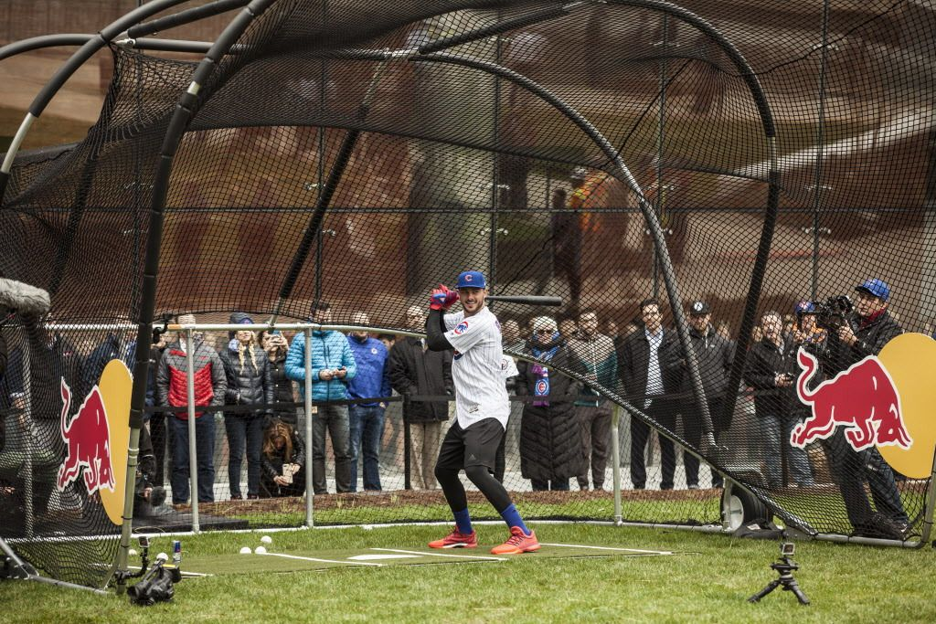 Kris Bryant, Chicago Cubs third baseman, prepares his stance to hit the baseball towards fans across the river. | Maria Cardona/ Sun-Times