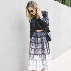 "Jacey of <a href=""http://damselindior.com""target=""_blank"">Damsel in Dior</a> is wearing a <a href=""http://www.tibi.com/shop/skirts/lace-plaid-ombre-full-skirt?aff=cj&utm_campaign=cj_affiliate&utm_medium=affiliate&utm_source=cj&utm_content=4441350&utm_term"