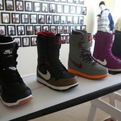 A selection of Nike's latest snowboard boots.