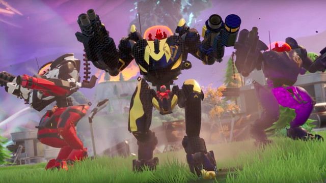 Three Fortnite mechs stand in a line
