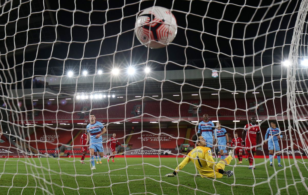 Liverpool v West Ham United - Premier League - view from behind the goal as Diogo Jota's shot hits the back of the net
