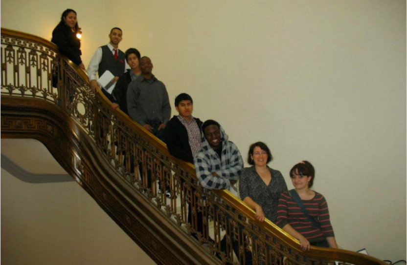 The author with students in the Senate building several years ago.