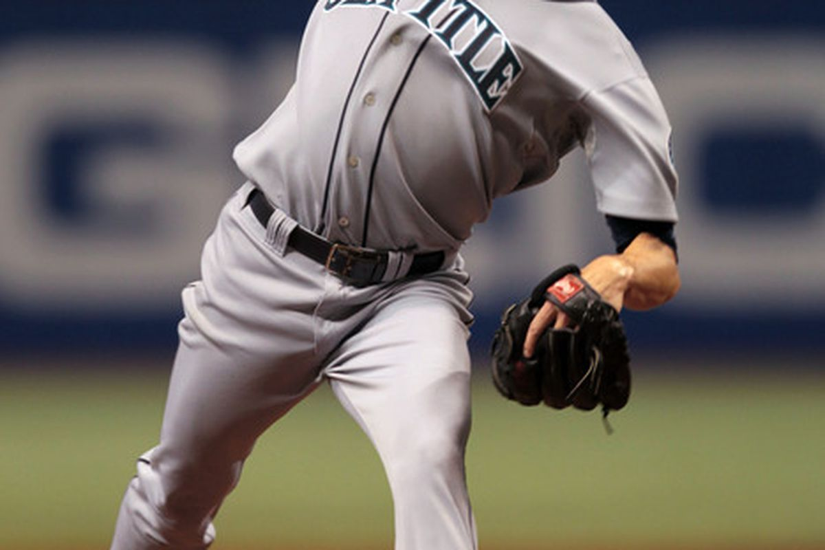 ST PETERSBURG FL - SEPTEMBER 25: Pitcher Doug Fister #58 of the Seattle Mariners delivers a pitch against the Tampa Bay Rays at Tropicana Field on September 25 2010 in St. Petersburg Florida. (Photo by Eliot J. Schechter/Getty Images)