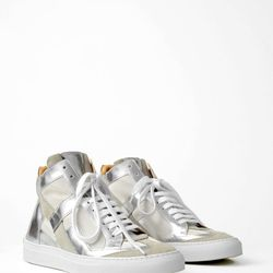 """Ligne 6 by Martin Margiela mirror fabric """"Fash Split"""" sneakers, <a href=""""http://shopbird.com/product.php?productid=29540&cat=774&manufacturerid=&page=1"""">$199</a> (were $395) at Bird"""