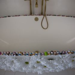 The tub in the master bathroom.