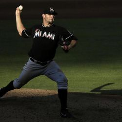 Miami Marlins' Josh Johnson pitches in the fourth inning of a baseball game against the Philadelphia Phillies, Wednesday, Sept. 12, 2012, in Philadelphia.