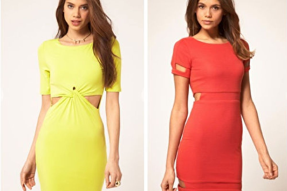 """Bodycon dress with cut-out detail, <a href=""""http://www.asos.com/ASOS/ASOS-Bodycon-With-Cut-Out-Detail/Prod/pgeproduct.aspx?iid=2049070&amp;cid=13400&amp;sh=0&amp;pge=0&amp;pgesize=20&amp;sort=-1&amp;clr=Limeade"""">$39.39</a>, and Ribbed mini dress wit"""
