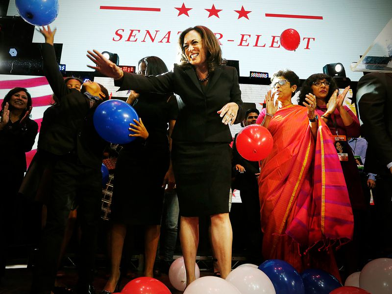 Kamala Harris celebrates winning her Senate race at her rally in downtown on November 8, 2016, in Los Angeles, California.