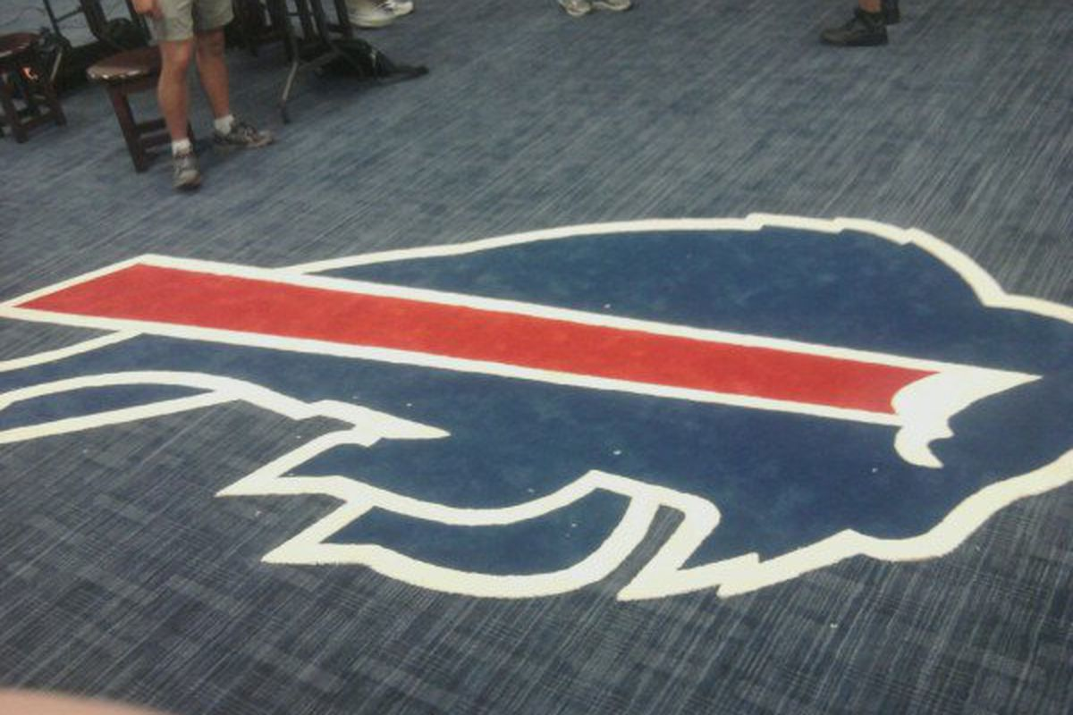 The Buffalo Bills' logo on the floor of the team's home locker room, June 2011. Photo by MattRichWarren, BuffaloRumblings.com.