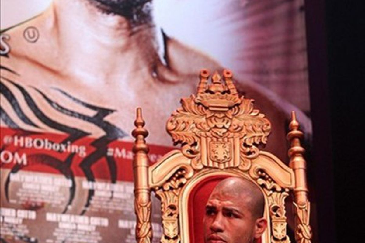 Miguel Cotto will make career-best money on Saturday against Floyd Mayweather Jr. (Photo by Ed Mulholland-US PRESSWIRE)