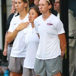 UConn women's soccer coaches Margaret Rodriguez, Carey O'Brien and Vanessa Phillips Bosshart