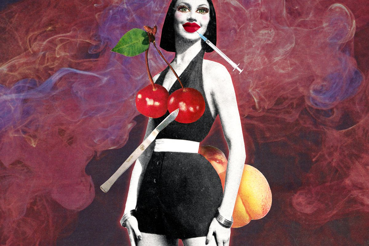 A photomontage of a person getting injections in their face and breasts, which have been replaced with cherries.