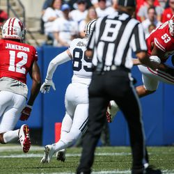 Wisconsin Badgers linebacker T.J. Edwards (53) intercepts a Brigham Young Cougars pass on the first possession of the game at LaVell Edwards Stadium in Provo on Saturday, Sept. 16, 2017.