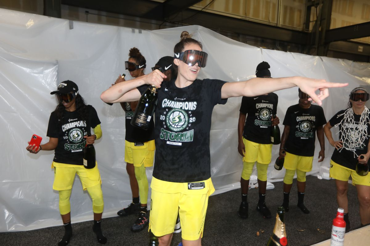 Breanna Stewart of the Seattle Storm celebrates after the game against the Las Vegas Aces during Game Three of the WNBA Finals on October 6, 2020 at Feld Entertainment Center in Palmetto, Florida.