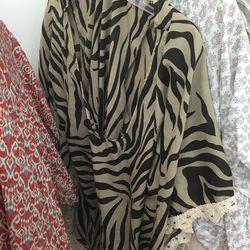 Zebra stripe coverup, $50