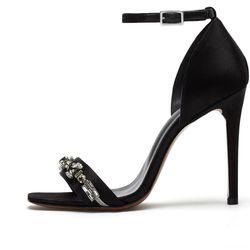High Heel Evening Sandal in black embellished satin, $850